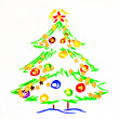 Christmas tree, drawing by child — Stock Photo #6805698