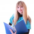 Woman with blue folder — Stock Photo #6805701
