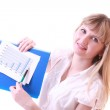 Woman showing positive chart — Stock Photo #6805883
