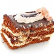 Chocolate cake with  cream and cherry - Foto Stock