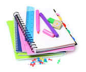 Bright notebooks and markers — Stock Photo