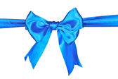 Blue ribbon and bow isolated on white background — Stock Photo