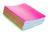 Green and pink notebooks — 图库照片