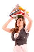 žena s složky na hlavu izolovaných na bílém — Stock fotografie