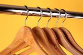 Wooden coat hangers — Стоковое фото