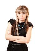 Mütevazı mutsuz genç kadın üzerinde beyaz izole — Stok fotoğraf