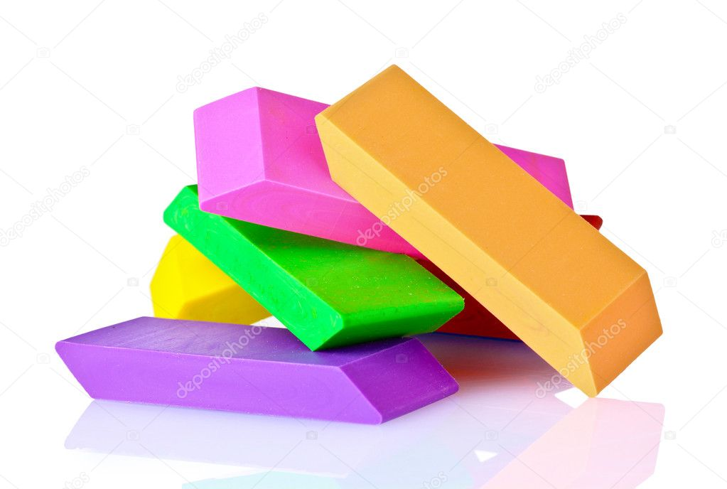 Bright erasers isolated on white — Stock Photo #6800088