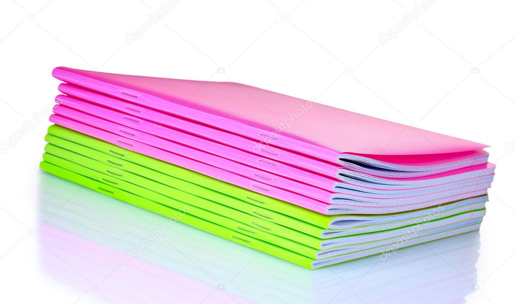 Green and pink notebook isolated on white — Zdjęcie stockowe #6800104
