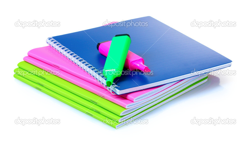 Bright notebooks and markers isolated on white — Stock Photo #6800137