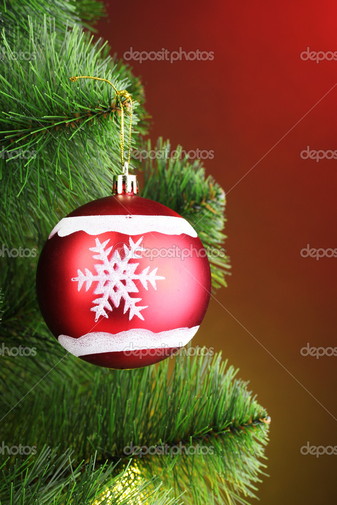 Beautiful Christmas red ball on fir tree — Stock Photo #6801115