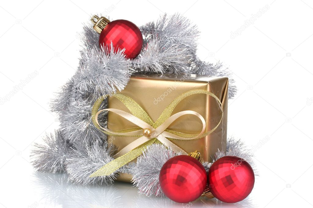 Beautiful bright gift and Christmas decoration isolated on white — Stock Photo #6801164