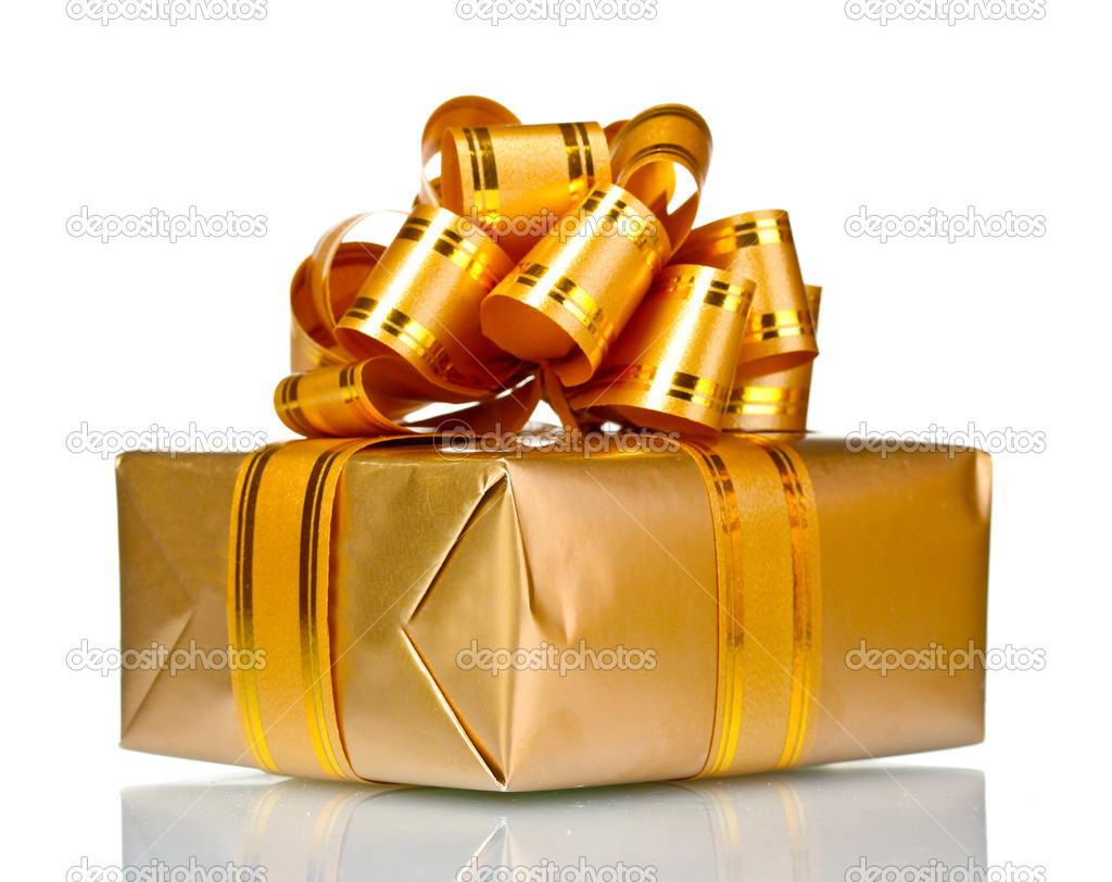 Beautiful golden gift isolated on white — Stock Photo #6801215