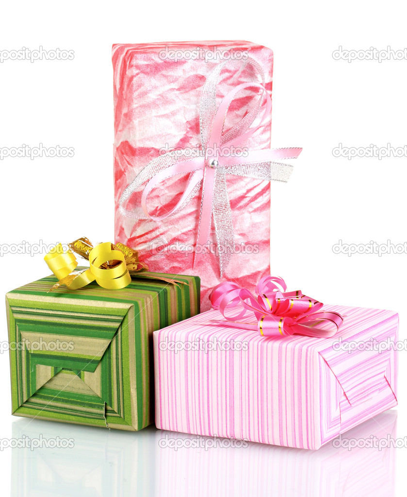 Beautiful pink green gifts isolated on white  Stock Photo #6802053