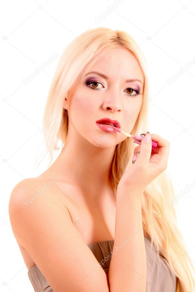 Young beautiful blond woman with pink lipstick isolated on white — Stock Photo #6803431