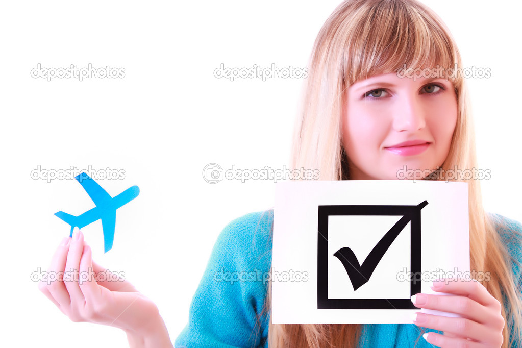 Woman, plane and check symbol — Stock Photo #6805629