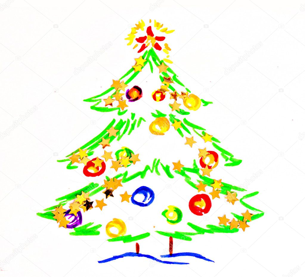 Christmas tree, drawing by  child — Stock Photo #6805695