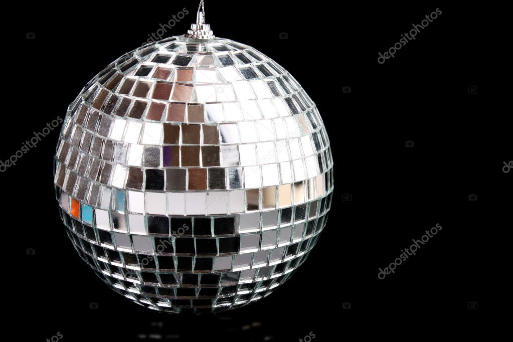 Sparkling glass disco ball isolated on black  Stock Photo #6806193