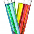 Test-tubes with liquid on gray background — ストック写真
