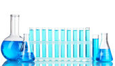 Test-tubes with blue liquid isolated on white — Stock Photo