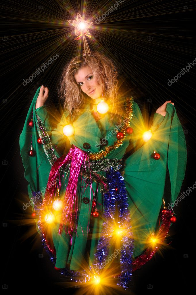 Young woman in New year and Christmas decoration on black background — Stock Photo #6813735