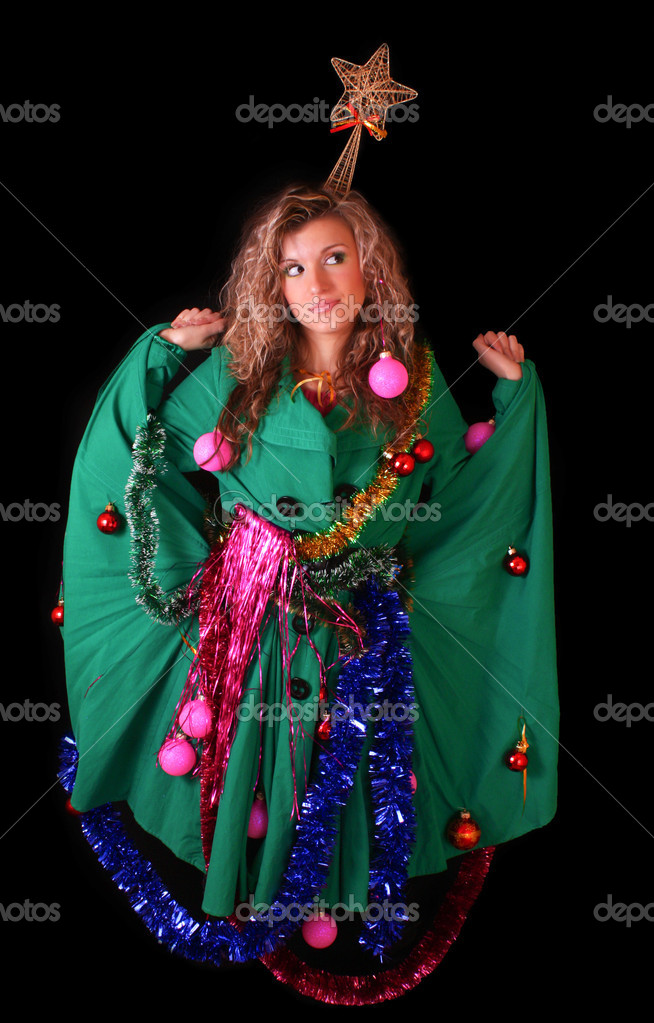 Young woman in New year and Christmas decoration on black background — Stock Photo #6813736