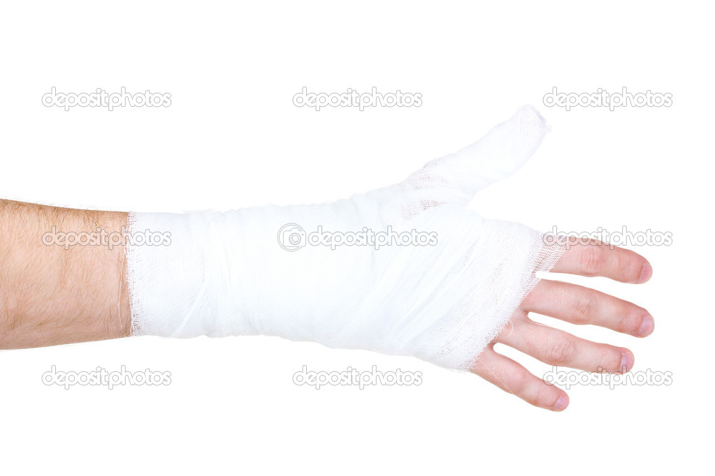 Bandaged hand isolated on white — Stock Photo #6818571