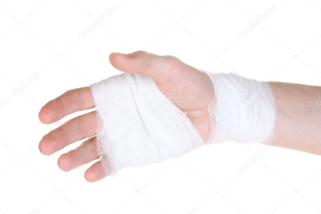 Bandaged hand isolated on white — Stock Photo #6818574