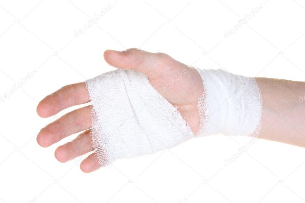 Bandaged hand isolated on white — Stock Photo © belchonock #6818574