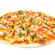 Delicious pizza with seafood  isolated on white — Stock Photo