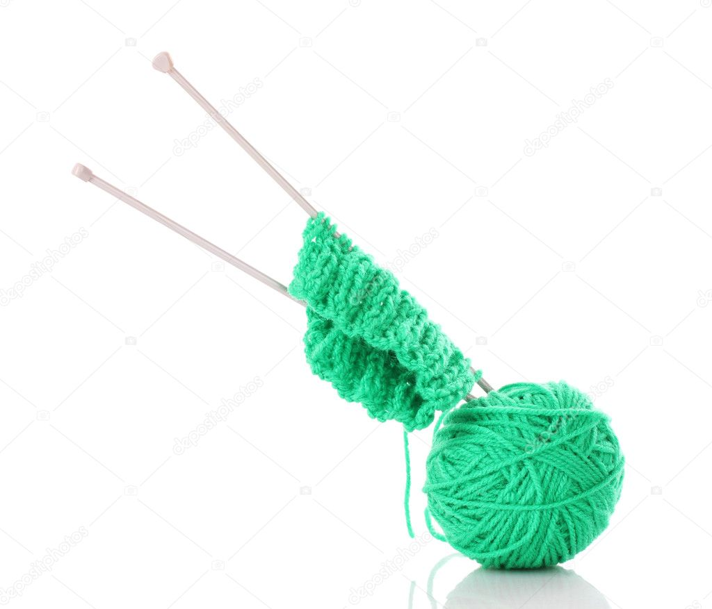 Knitting Wool And Needles : Knitting needles and wool ball — stock photo belchonock
