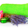 Royalty-Free Stock Photo: Beautiful lavender, salt and towels