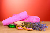 Beautiful lavender, salt and towels — Stock Photo