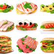 Collage with sandwiches isolated on white isolated on white isol — Stock Photo