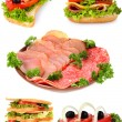 Collage with sandwiches isolated on white isolated on white isol — Stock Photo #7262829