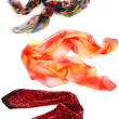 Collage of colorful women's scarves — Stock Photo #7262837