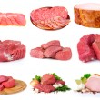 Fresh raw meat collection isolated on white — Stock Photo