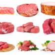 Stock Photo: Fresh raw meat collection isolated on white