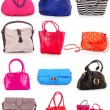 Collage of colorful bags. isolated on white - Lizenzfreies Foto
