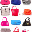 Collage of colorful bags. isolated on white - Stock Photo