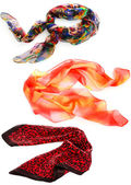 Collage of colorful women's scarves — Stock Photo