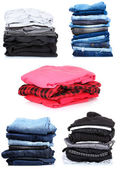 Collage of the piles of clothes — Stock Photo