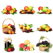 Collage with tasty summer fruits isolated on white — Stock Photo
