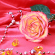 Pink rose on the Textile background - Stock Photo