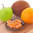 Stock Photo: Green apples and orange mandarins setting