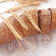 Fresh bread over white background — Stock Photo