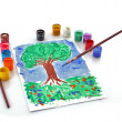 Opened paint buckets colors and drawing tree - Stock Photo