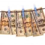 Washed money on the white — Stock Photo