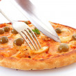 Royalty-Free Stock Photo: Tasty pizza with olives isolated on white