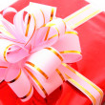 Christmas present on white — Stock Photo