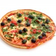 Stock Photo: Tasty pizza with olives isolated on white